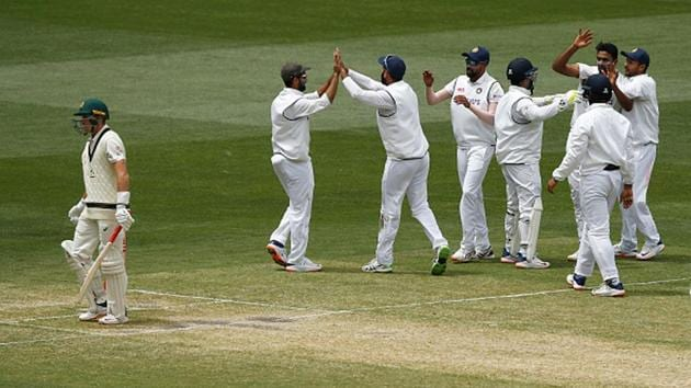 India celebrate the wicket of Marnus Labuschagne in Melbourne.(Getty Images)
