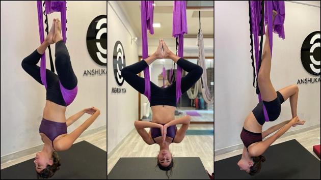 Ananya nails aerial Yoga inversion for first time, here are benefits of the exercise(Instagram/ananyapanday/anshukayoga)