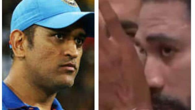 MS Dhoni (L) and Mohammed Siraj (R)
