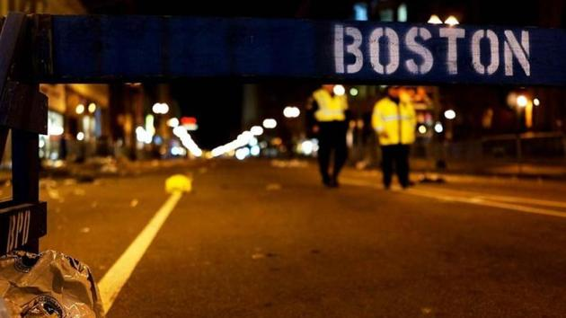A piece of debris rests against a police barricade near the scene of a twin bombing at the Boston Marathon in Boston.(AFP file photo)