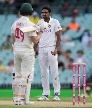 Sydney: India's Ravichandran Ashwin, right, reacts as he contemplates appealing for a catch during play on day one of the third cricket test between India and Australia at the Sydney Cricket Ground, Sydney, Australia, Thursday, Jan. 7, 2021. AP/PTI(AP01_07_2021_000062B) (AP)