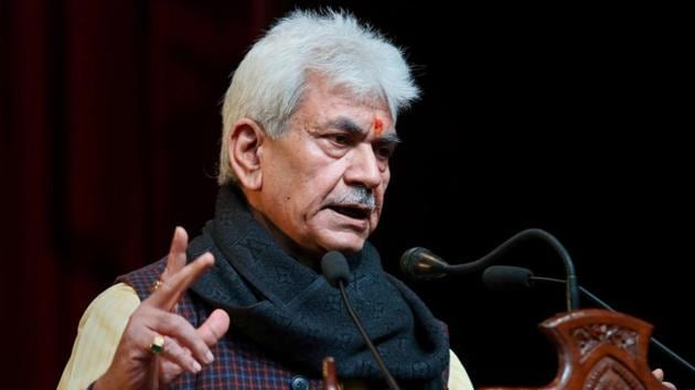 Jammu and Kashmir Lt Governor Manoj Sinha addresses a press conference, at Convention Hall in Jammu, on January 07.(PTI)