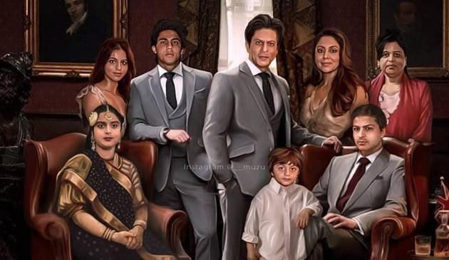 Shah Rukh Khan's fanmade family picture goes viral.