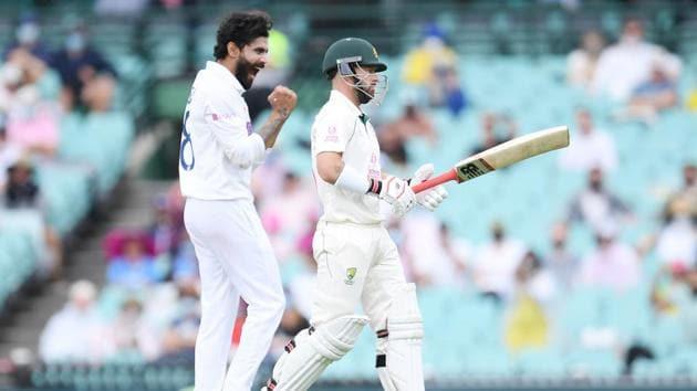 Ravindra Jadeja of India celebrates taking the wicket of Australia's Matthew Wade.(via REUTERS)