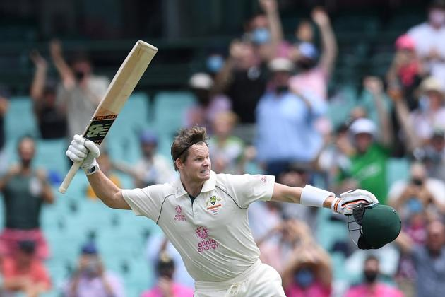 Steve Smith of Australia celebrates making his century during day two of the third test match between Australia and India at the SCG, Sydney, Australia, January 8, 2021. AAP Image/Dean Lewins via REUTERS ATTENTION EDITORS - THIS IMAGE WAS PROVIDED BY A THIRD PARTY. NO RESALES. NO ARCHIVE. AUSTRALIA OUT. NEW ZEALAND OUT (via REUTERS)