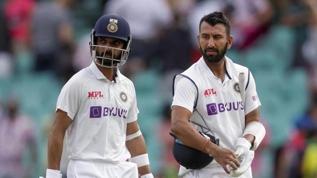 Sydney: India's Ajinkya Rahane, left, and Cheteshwar Pujara walk from the field at the end of play on day two of the third cricket test between India and Australia at the Sydney Cricket Ground, Sydney, Australia, Friday, Jan. 8, 2021.AP/PTI(AP01_08_2021_000048B) (AP)