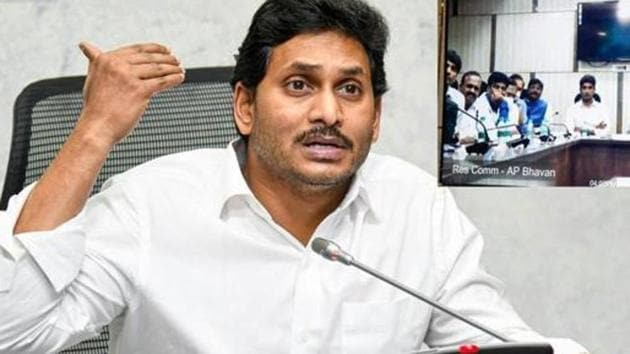 Andhra Pradesh chief minister YS Jagan Mohan Reddy also announced several development projects from inside the temple premises.(PTI)