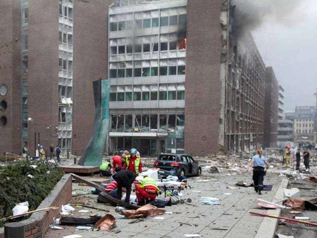 A-scene-after-the-explosion-in-Oslo-Norway