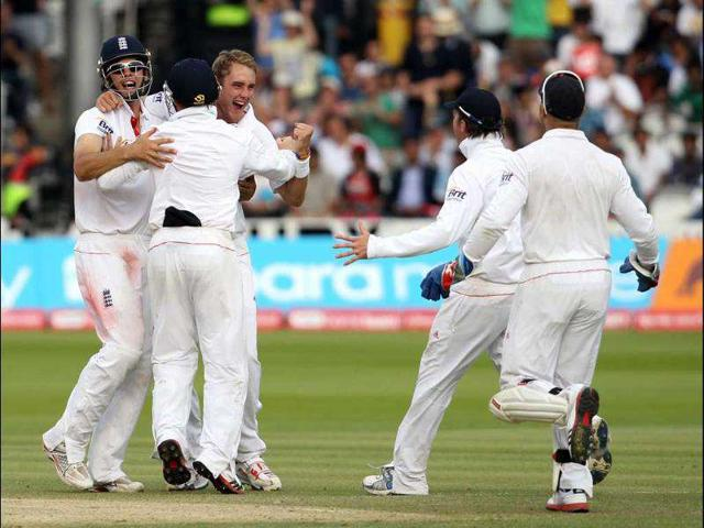 England-s-Graeme-Swann-2nd-R-and-Matt-Prior-R-run-to-celebrate-with-bowler-Stuart-Broad-3rd-L-with-teammates-Alastair-Cook-L-and-Ian-Bell-2nd-L-after-Broad-took-the-last-wicket-of-Ishant-Sharma-to-win-the-match-during-day-five-of-the-1st-Test-match-at-Lord-s-in-London