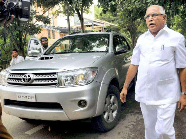 Karnataka-chief-minister-BS-Yeddyurappa-at-his-residence-in-Bangalore-Yeddyurappa-s-fate-as-CM-hangs-in-balance-as-lokayukta-today-indicted-him-in--his-report-on-illegal-mining-scam-rampant-in-Karnataka