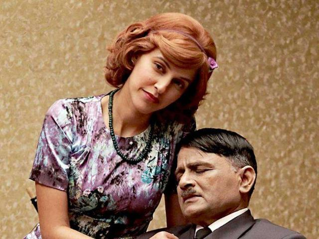 Neha-Dhupia-and-Raghuveer-Yadav-in-a-still-from-Gandhi-To-Hitler