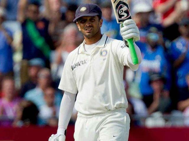 Rahul-Dravid-acknowledges-reaching-his-century-on-the-second-day-of-his-team-s-cricket-Test-match-against-England-at-Trent-Bridge-cricket-ground-Nottingham-England