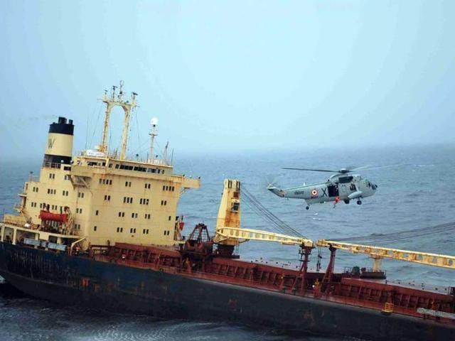 In-this-photo-provided-by-the-Indian-ministry-of-defense-shows-the-sinking-ship-MV-Rak-Carrier-off-the-coast-of-Mumbai