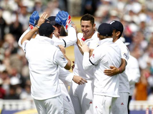 Tim-Bresnan-celebrates-with-teammates-after-taking-the-wicket-of-VVS-Laxman-on-the-first-day-of-the-third-Test-match-at-Edgbaston-Cricket-Ground-Birmingham-England