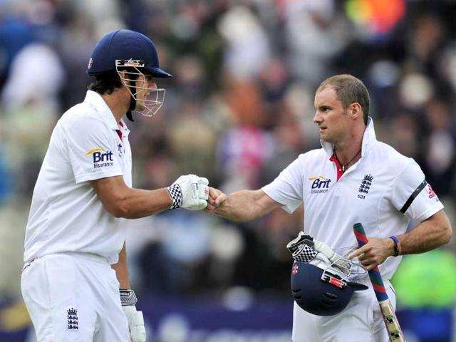 Andrew-Strauss-and-Alastair-Cook-pound-fists-after-the-first-day-of-the-third-Test-against-India-at-the-Edgbaston-cricket-ground-in-Birmingham-central-England