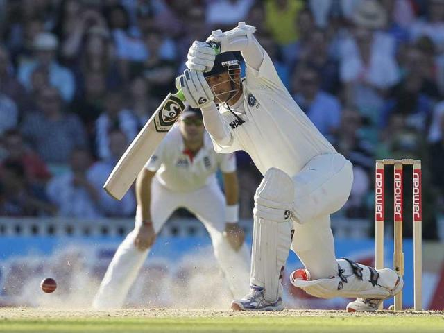 Rahul-Dravid-plays-a-shot-off-the-bowling-of-England-s-Stuart-Broad-in-their-fourth-test-match-at-The-Oval-cricket-ground-in-London