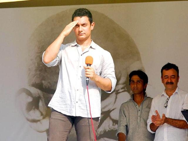 File Photo: Bollywood actor Aamir Khan addressing the crowd.