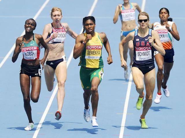 From-left-Kenya-s-Cherono-Koech-Britain-s-Emma-Jackson-South-Africa-s-Caster-Semenya-USA-s-Alice-Schmidt-and-India-s-Tintu-Luka-compete-in-a-Women-s-800m-qualification-heat-at-the-World-Athletics-Championships-in-Daegu