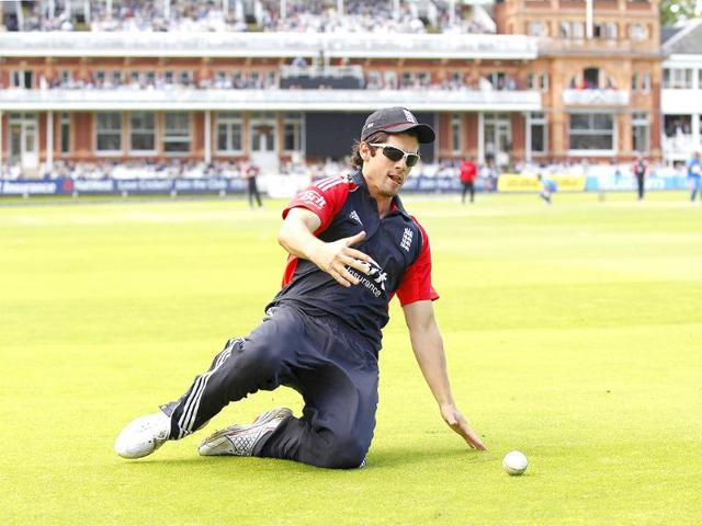 England-s-Captain-Alastair-Cook-runs-after-the-ball-to-prevent-a-boundary-and-is-successful-during-the-fourth-ODI-between-England-and-India-at-Lord-s-cricket-ground-in-London