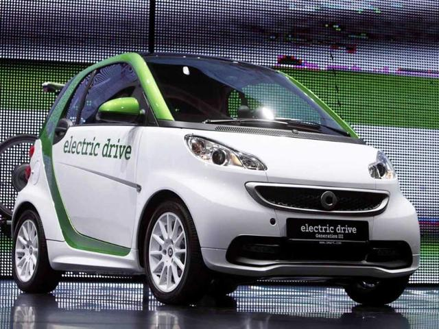 A Smart Fortwo Electric Drive by Mercedes-Benz is displayed during the International Motor Show (IAA) in Frankfurt. The world's biggest auto show runs until September 25.