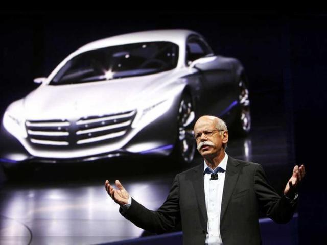 Daimler CEO Dieter Zetsche speaks during a presentation at the International Motor Show (IAA) in Frankfurt.