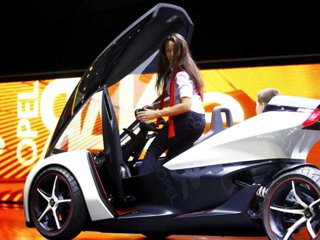 German carmaker Adam Opel presents the full electric vehicle 'Opel RAK e' concept car at the International Motor Show (IAA) in Frankfurt.