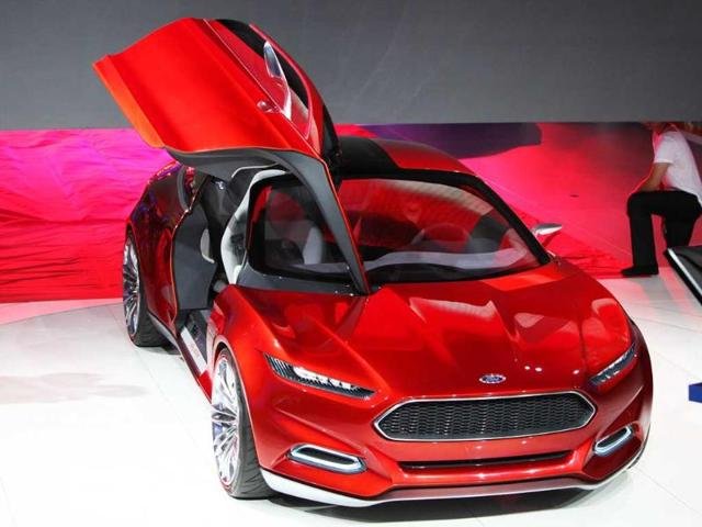 The Evos concept car by Ford is on display at the international car show IAA (Internationale Automobil-Ausstellung) in Frankfurt.