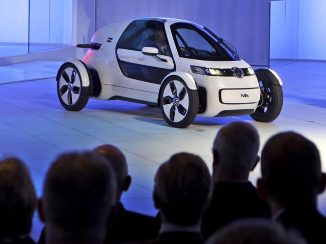 The Volkswagen VW concept car Nils is on display during the Frankfurt Auto Show IAA in Frankfurt, Germany.
