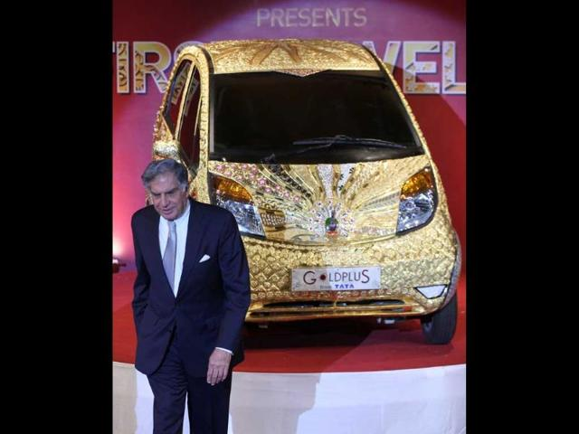Ratan N Tata at the launch of Goldplus Nano Car at NCPA at Nariman Point.Goldplus Nano, world's first ever pure gold jewellery car is tribute to the nation acknowledging 5000 years of Indian jewellery making.