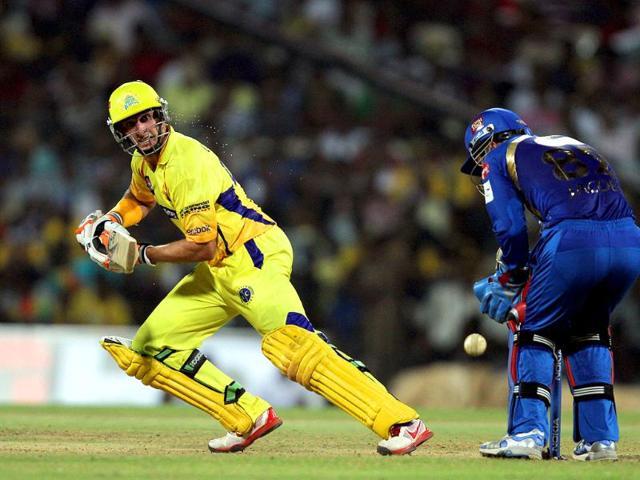 Chennai-Super-Kings-Mike-Hussey-bats-during-their-CLT20-match-against-Mumbai-Indians-at-Chidambaram-Stadium-in-Chennai