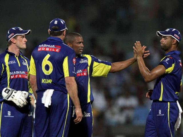 Cape-Cobras-team-celebrate-after-the-dissmisal-Murli-Vijay-during-CLT20-match-between-Chennai-Super-Kings--and-Cape-Cobras-at-Chidambaram-Stadium-in-Chennai