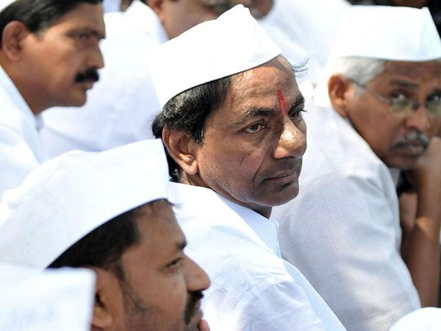 TRS-president-K-Chandrasekhar-Rao-talks-to-media-in-Hyderabad-after-Congress-Working-Committee-endorsed-a-decision-to-create-separate-Telangana-state-PTI-photo