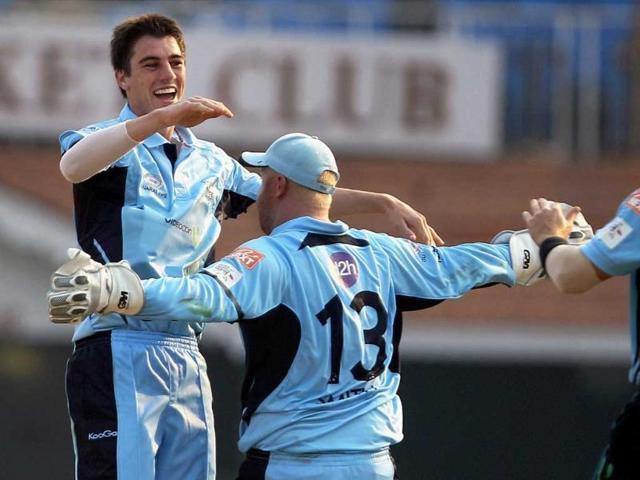 New-South-Wales-Blues-Pat-Cummins-celebrating-Mumbai-Indians-Kieron-Pollard-s-wicket-during-the-Champions-league-T20-2011-match-in-Chennai