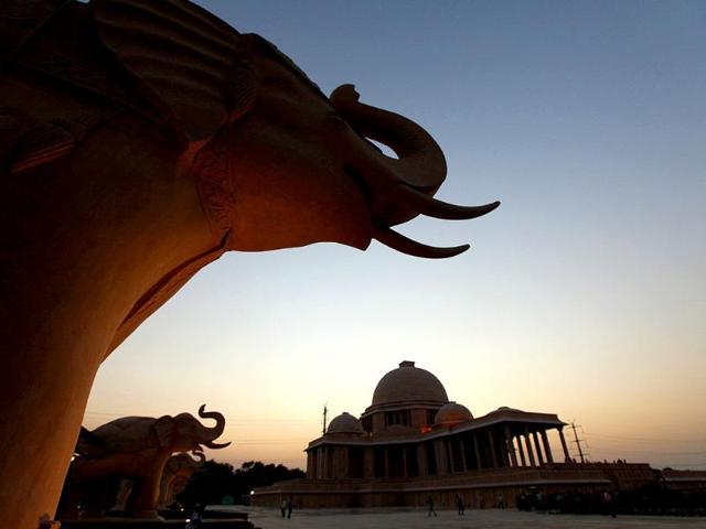 Bhim-Rao-Ambedkar-Park-in-Noida-Uttar-Pradesh-chief-minister-Mayawati-is-scheduled-to-inaugurate-the-park-on-14-October-HT-Photo-by-Virendra-Singh-Gosain