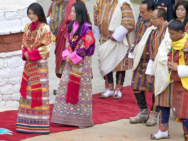 King-Jigme-Khesar-Namgyel-Wangchuck-L-and-his-bride-Jetsun-Pema-take-part-in-a-purification-ceremony-at-the-Punkaha-Dzong-during-their-wedding-ceremony-in-Bhutan-s-ancient-capital-Punakha
