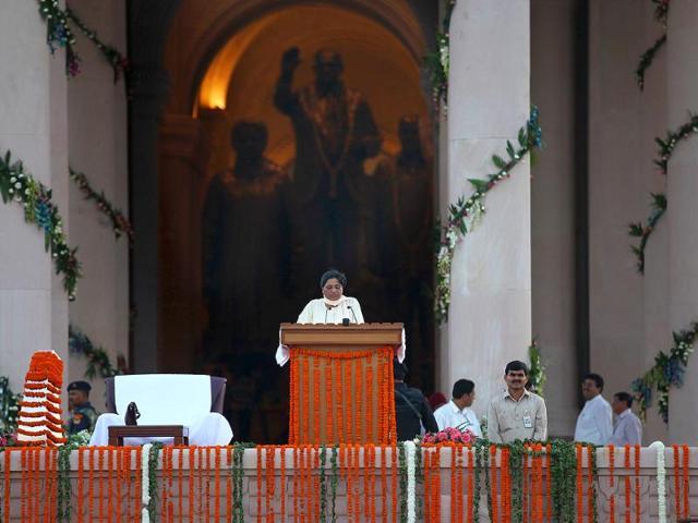 Uttar-Pradesh-chief-minister-Mayawati-during-the-inauguration-of-the-Rashtriya-Dalit-Prerna-Sthal-Ambedkar-Park-in-Noida-Photo-Raj-K-Raj-HT