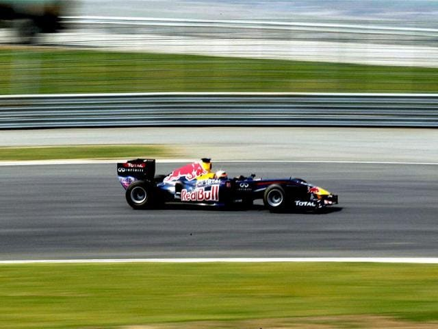 A-Red-Bull-Formula-One-car-goes-down-the-track-during-the-unveiling-of-the-Buddh-International-Circuit-the-venue-for-India-s-first--Formula-One-Grand-Prix-in-Greate-Noida