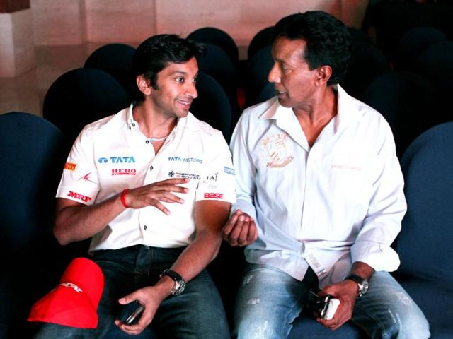 Narain-Karthikeyan-along-with-his-trainer-Balbir-during-an-interaction-with-the-F1-drivers-organised-by-MRF-in-New-Delhi-HT-Photo-Virendra-Singh-Gosain