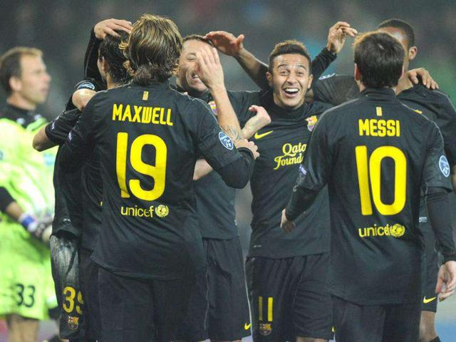 FC-Barcelona-s-players-celebrate-their-goal-to-3-0-during-their-Championship-League-group-H-match-between-FC-Barcelona-and-Viktoria-Plzen-in-Prague