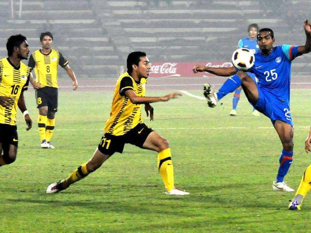 An-action-moment-of-the-International-Friendly-Football-Match-played-between-India-Blue-jersey-and-Malasia-at-Indira-Gandhi-Athletic-Stadium-in-Guwahati