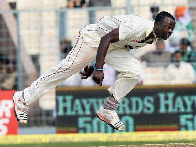 West-Indies-bowler-Kemar-Roach-in-action-during-1st-day-of-2nd-Test-match-at-Eden-Gardens-in-Kolkata