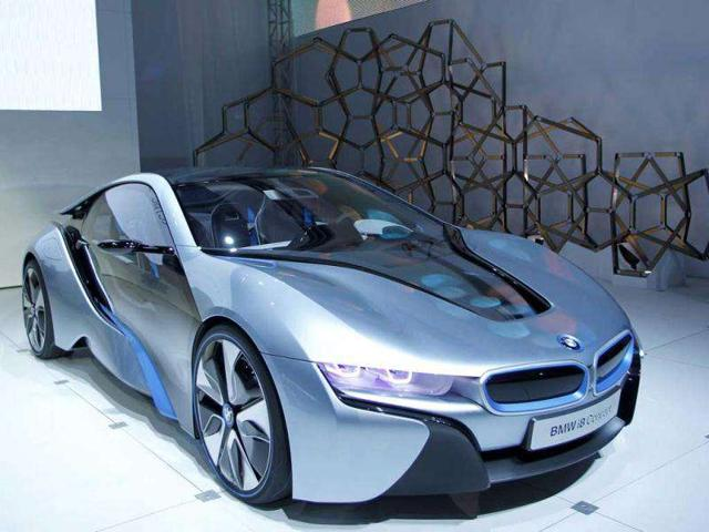 The BMW i8 hybrid-electric concept vehicle is seen at Los Angeles Auto Show.