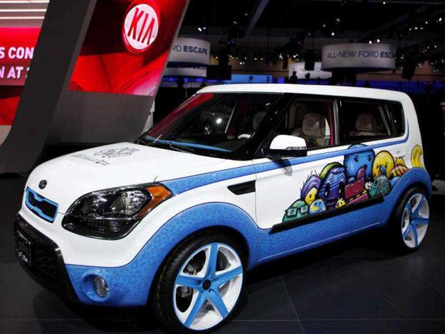 A 2012 Kia Soul, whose design is inspired with ideas from LPGA golfer Michelle Wie, is seen at Los Angeles Auto Show.
