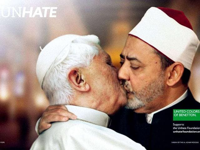 This-handout-picture-released-by-Benetton-shows-a-photo-montage-showing-Pope-Benedict-XVI-kissing-on-the-lips-Egypt-s-Ahmed-el-Tayyeb-imam-of-the-Al-Azhar-Mosque-in-Cairo-Benetton-backed-down-and-pulled-the-photo-montage