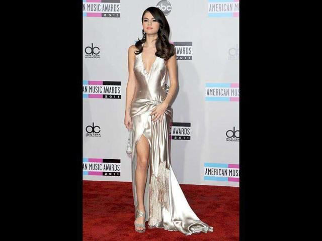 Selena-Gomez-in-a-pearly-satin-dress