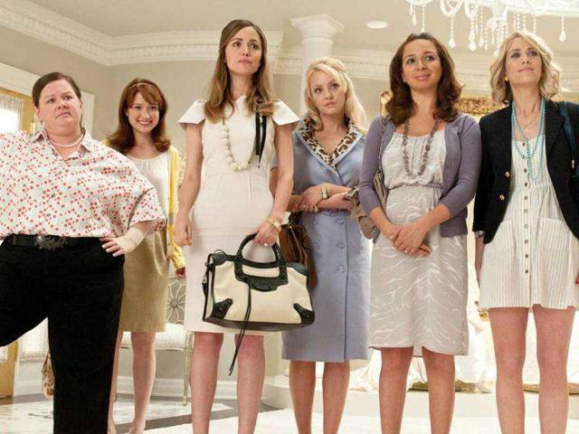 In-this-publicity-image-released-by-Universal-Pictures-from-left-Melissa-McCarthy-Ellie-Kemper-Rose-Byrne-Wendi-McLendon-Covey-Maya-Rudolph-and-Kristen-Wiig-are-shown-in-a-scene-from-Bridesmaids-The-film-was-nominated-in-two-categories-for-Golden-Globe-Awards-See-full-list--AP-Photo-Universal-Pictures-Suzanne-Hanover