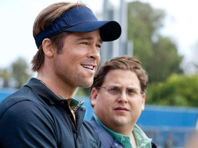 In-this-image-released-by-Sony-Pictures-Brad-Pitt-L-and-Jonah-Hill-are-shown-in-a-scene-from-Moneyball-The-film-received-three-nominations-AP-Photo-Columbia-Pictures-Sony-Melinda-Sue-Gordon