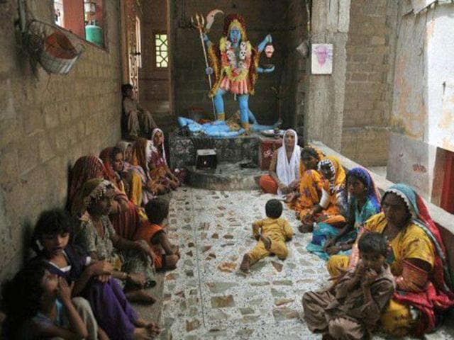 A-file-photo-of-Pakistani-Hindus-at-The-Shang-Bhavan-Temple-in-Maklei-in-Thatta-district-Pakistan