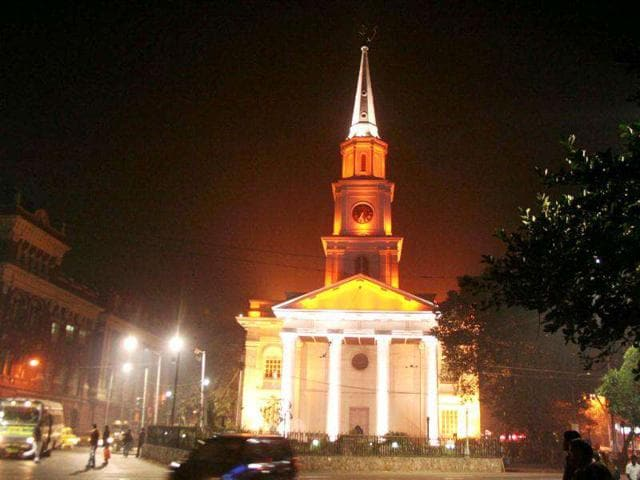 An-illuminated-Church-on-Christmas-eve-in-Kolkata