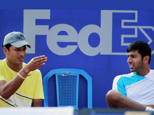 Mahesh-Bhupathi-and-Rohan-Bopanna-chat-during-a-practice-session-for-ATP-Chennai-Open-2012-PTI-Photo